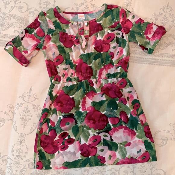 Gymboree Plum Pony Floral Corduroy Dress Sz 7 🌸
